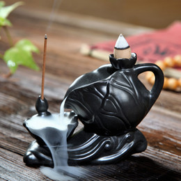 Wholesale Creative Teapot mm x mm x mm Ceramic Backflow Smoke Incense Burner Holder Aromatherapy Home Ornement with Cones Free Z00D571