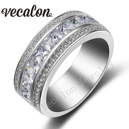 Vecalon Princess cut Simulated diamond Cz Wedding Band Ring for Women 10KT White Gold Filled Female Engagement Band Sz 5-11 R083