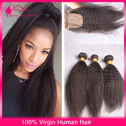 New Arrival Virgin Indian Kinky Straight Hair With Silk Base lace Closure 4Pcs Lot Coarse Yaki Silk Base Lace Closure With Hair Bundles