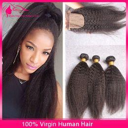 New Arrival Virgin Indian Kinky Straight Hair With Silk Base lace Closure 4Pcs Lot Coarse Yaki Silk Base Lace Closure With Hair Bundles