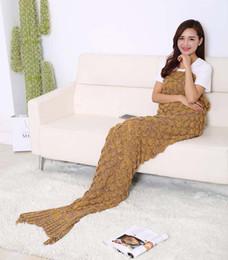 New design Mermaid Tail Cosplay Children Women Men Winter Warm Mermaid Tail Costume Handmade Knit Blanket 90*190cm Big size