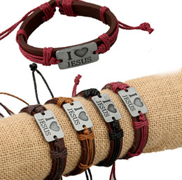 Wholesale-New Fashion Leather Strap Bracelets & Bangles Vintage I Love Jesus Rope Leather Bracelet for Women Men