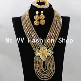 Gold Champagne Jewelry Sets African Beads Collar Statement Necklace Set Women Wedding Party Accessories 6 Colors Free Shipping