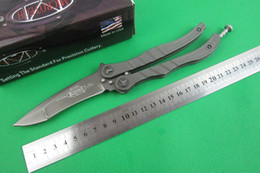 Wholesale Microtech Metalmark Plain Bead Blast Blade with Gray Handles balisong butterfly knife BM42 BM49 BK32 BM63 tactical knife knives