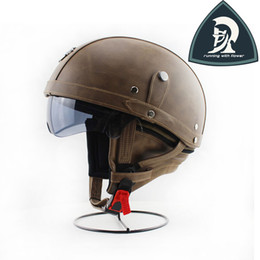 Wholesale 2016 New Adult Color Coffee PU Leather Vintage Harley Helmets For Motorcycle Retro Half Cruise Helmets With Inner Visor XXL DOT Approved