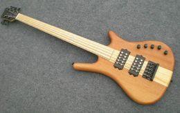 Guitare par en Ligne-Top qualité Nature Wood Matte Dull Polish Le Whole Maple Neck à travers le corps W 5 String basse électrique avec 9V Active Pickups Guitare