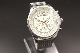 2016 Hot Sale Brand 1884 Quartz-watch Men White Big Dial Fluted Case Silver Skeleton Silver Stinless Band Stopwatch Digital Watch