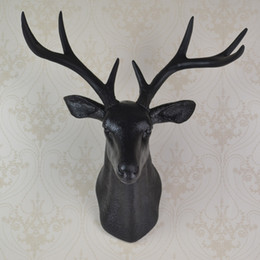 Wholesale wall mounted black whitetail buck bust deer head art plaque hunt sculpture as faux taxidermy