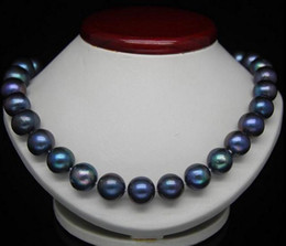 Noble 10-11mm genuine south seas black blue pearl necklace 18inch 925 silver clasp