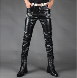 Wholesale Plus size men s autumn winter black slim men leather pants male singers DJ stage Trousers costume men s fashion ds dance