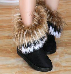 Wholesale Nouveau Femmes Automne Hiver Bottes de neige Bottines chaudes en fourrure Chaussures Bottes de neige Couleurs de plats femmes