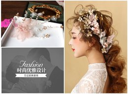 Wholesale Korean super fairy bride headdress headdress flower wedding bride handmade hair feathers hair wedding accessories No th98001