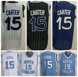 Wholesale 2016 Men Vince Carter Jersey Throwback North Carolina Vince Carter College Shirts Uniforms Team Blue Black White Purple High Quality