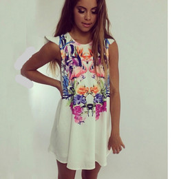 Women Loose Floral Casual Party Dresses Summer Stars Party Dress Large Size For Women sleeveless Dress With Crane and Flower Printed Vintage