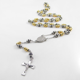 Hot Sell Men's Rosary Pendant Cross Necklace Charms Black With White Steel Bead Chain Beckham For Men Fashion Jewelry