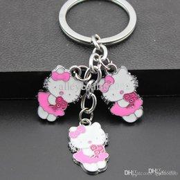 MO132 cadeau Lovely Rose Flower Bonjour Kitty Porte-clés Porte-clés / sac pendentif de gros-fille femmes Charms enfants à partir de trousseaux gros fleur fournisseurs