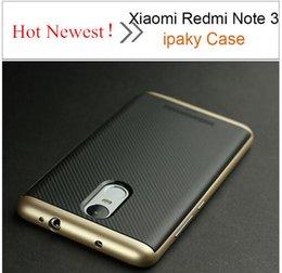 Silicio w en Línea-Caja de la nota 3 de Xiaomi Redmi Caja trasera original de la caja del silicón del marco del iPaky PC + TPU w del 100% para el envío libre de la nota 3 de Xiaomi Redmi