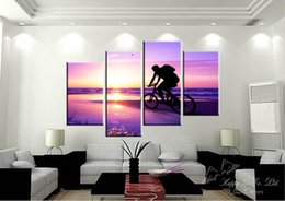 Wholesale No Frame Panel Modern Painting Riding A Bicycle People On Beach Home Decorative Art Picture Paint On Canvas Color Multicolor
