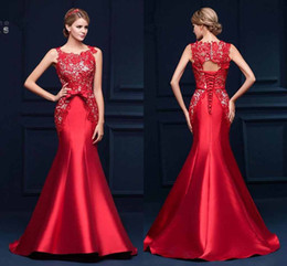 New Elegant Red Lace Mermaid Evening Dresses Cheap Formal Lace Up Back Prom Party Gowns CPS385