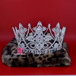 Rhinestone Crowns Tiaras Large Full Round Gorgeous Luxurious King Queen Princess Prince Headwear Hair Ornament Cross Bridal Pageant Mo186
