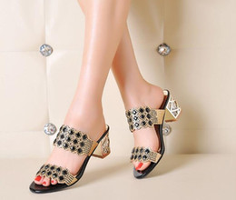 Wholesale Leather Sandals Women American - HOT! new European and American Roman style women diamond sandal fashion high heels sandals womens Slippers women shoes slipper