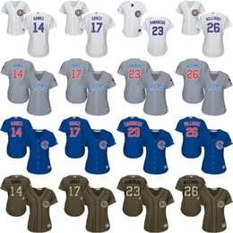 Wholesale 2016 World Series Champions patch women Ernie Banks Sandberg MARK GRACE Billy Williams Chicago Cubs Baseball Jersey stitched