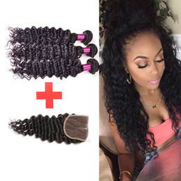 Brazilian virgin hair Deep Wave with closure Queen Hair Products human Hair With Closure Brazilian 3 Bundles With Lace Closure