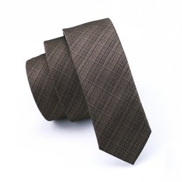 Wholesale Brown Ties for Men New 5.5cm Narrow Tie Korean Slim Mens Casual Party Stripes Check Skinny Neckties E-206