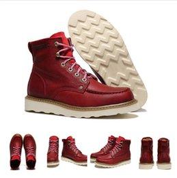Descuento venta caliente de la motocicleta 2016 El rojo de vino caliente de la bota de la piel del invierno del cargador de bota del tobillo de los hombres de la alta calidad de la venta / el rojo calza la botas calientes de la motocicleta del hombre de las botas Tamaño 39-44