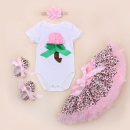 Wholesale Baby Romper Tutu Lace Dresses Sets Girls Suits Headband Short Romper Skirt First Walkers Infant Summer Toddler Sequin Outfits