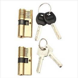 2pcs 7 Pins Brass Both End Lock Quick Open Practice Lock with Keys Lock Picks Tools Set