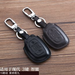 Wholesale For Hyundai Sonata Avante ELANTRA Car Keychain Genuine Leather Car Key Case Cover Buttons Smart Car Key Chain Ring Auto Accessory