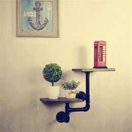 Wholesale Retro Industrial Pipes Iron Shelves Novel Ideas Old Clapboard Clapboard Wall Shelf Bathroom Shelves Storage Holders Racks Z50