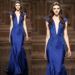 Royal Blue Prom Dresses 2017 Deep V Neck Lace Appliques Beading Sequins Mermaid Satin Floor Length Evening Dresses