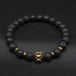 Wholesale Antique Gold Plated Buddha Leo Lion Head Bracelet Black Lava Stone Beaded Bracelets For Men Women Pulseras Hombre N4