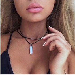 Wholesale Hot fashion rhodium plated fatima hand black leather with opal stones choker necklace USA style Fashion jewellery party gift