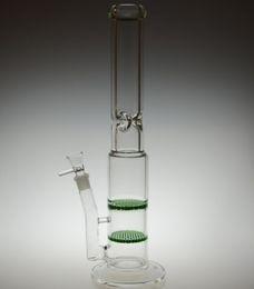 Promotion crdp de verre 9mm épaisses conduites d'eau en verre bongs en verre avec deux percs en nid d'abeilles avec verre de 18.8mm bol en verre joint