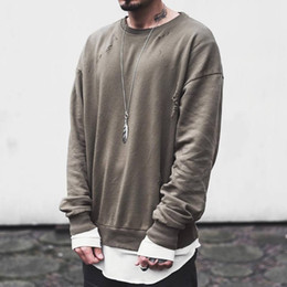 Kanye West Ripped Sweatshirt O-Neck Long Sleeve Oversized Pullover Hoodie New Skateboard Top Plain Casual Overcoat YYG1012