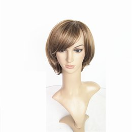 Synthetic Mix Color Short Bob Wig 10inch Front Lace Wig Cap 140g 8A Grade Straight Hair