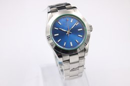 Wholesale Top quality Luxury MM MM Blue Dial Green glass Stainless Steel Automatic Mens Men s Watch Free Ship