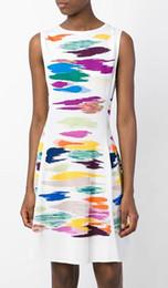 Colorful Print Women A-Line Dress Round Neck Sleeveless Dresses 064A640