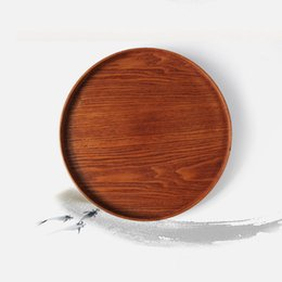 Wholesale Eco friendly CM Diameter Primitive Hand Made Natural Wood Serving Tray Tea Food Oriental Plate Dish Platter Snack Plates