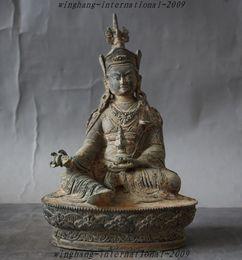 Wholesale Old Tibet Buddhism Temple bronze Guru Rinpoche Padmasambhava Vajra Buddha Statue