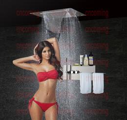 Wholesale Bathroom Concealed Shower Panel with LED Ceiling Shower Head Thermostatic Mixer Valve Bath Shower Tap Set Towel Rack Holder Shelf JF5326