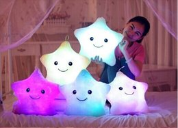 Colorful LED Night Flash Light Lucky Star Led Light Pillow For Kids Led Light Cushion With Musical Plug baby pillow