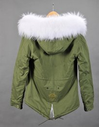 Wholesale Mr Mrs furs winter coats women green jackets Ladies Parkas with Real Raccoon fur UK Japan