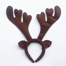 Wholesale Cartoon Deer Birthday Party - 6pcs lot Brown deer antlers ear head hoop birthday party party props supplies necessary place decoration supplies Christmas party