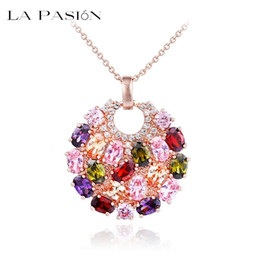 LA PASION Brand Hot Multicolor Crystal Round Necklace & Pendants for Women 18k Rose Gold Plated Multicolor CZ Zircon Pendant Necklace