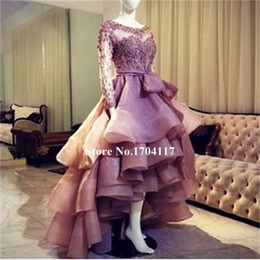 Free Shipping Evening Gowns vestidos de noiva Scoop Neck Long Sleeves Prom Dresses with Appliques Ruffles Pleats