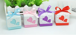 Wholesale 50pcs heart wedding favor candy box with ribbon gift box chocolate box baby shower favour party supplies